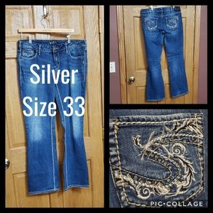 Silver Aiko Bootcut Jeans Size 33 Bling